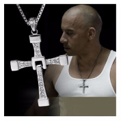 A Mens Silver Cross Necklace Pendant Fast And Furious Dominic Toretto's Movie