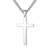 FOSIR Stainless Steel Simple Cross Pendant Necklace for Men Women with Wheat Chain 22 60cm