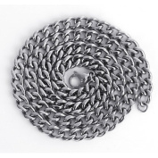 Neevas Heavy Cool Silver 316L Stainless Steel Men's Chain Link Curb Necklace