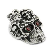 LINSION 925 Sterling Silver Red CZ Eyes Huge Smile Skull Mens Biker Pendant 8A035 JP