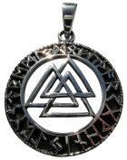 Sterling Silver 925 Valknut In Rune Circle Pendant