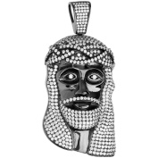 Premium Bling - 925 Sterling Silver Jesus Head Pendant black