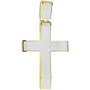 Premium Bling - 925 Sterling Silver XL Cross Pendant gold