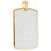 Premium Bling - 925 Sterling Silver Dog Tag Pendant gold