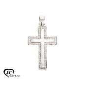 14Karat Gold Pendant 585 White Gold with White Cubic Zirconia Cross Necklace Pendant Necklace Blue