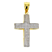 Gold Pendant Cross Pendant Cubic Zirconia 14 Carat Gold Jewellery 2871