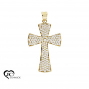 Cross Pendant 585 Yellow Gold with Cubic Zirconia Necklace Pendant 14Karat 2478