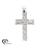 Gold Cross Pendant 585 White Gold with Cubic Zirconia Necklace Pendant 14Karat 2479