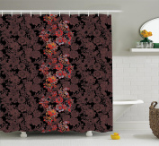 Flower Shower Curtain by Ambesonne, Flowers of Asia in Japanese Art Style Vivid Floral Pattern Boho Print, Fabric Bathroom Decor Set with Hooks, 210cm Extra Long, Black Orange Mustard