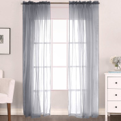 H.Versailtex Home Decorative Sheer Window Curtains for Living Room -Rod Pocket-52W x 84L Inch -Grey