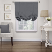 H.Versailtex Solid Blackout Energy Efficient Tie Up Shades -Rod Pocket Panel for Bedroom Grey 42W x 63L