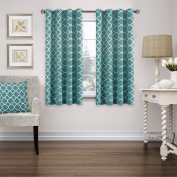 FlamingoP Home Decorations Thermal Insulated Moroccan Blackout Drapes Printed Window Curtains for Living Room, Grommet Top,Teal Set of Two Panels, each 63 by 52