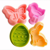 Baking Mould 4pcs Easter Plunger Cookie Cutter Kitchen Cookie Stamp in Bunny Chick Egg Butterfly Shape