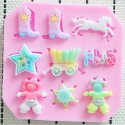Baking Mould Cowboy Boots Star Fondant Cake Chocolate Resin Candy Silicone Mould, L8.5cmW8.4cmH1cm