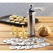 Baking Mould 24 In 1 Stainless Steel Aluminium Cookie Mould Gun Cake Decorating Tools 20 Mould+4 Pastry Tube