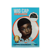 BLACK STOCKING WIG CAP NYLON SNOOD MESH BREATHABLE STRETCH LINER 2PCS (Wig Cap