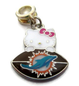 MIAMI DOLPHINS HELLO KITTY OFFICIALLY licenced CHARM WITH CONNECTOR