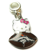 DENVER BRONCOS HELLO KITTY OFFICIALLY licenced CHARM WITH CONNECTOR
