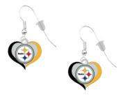 Pittsburgh Steelers Swirl Heart Earrings Pierced