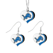 Detroit Lions Sports Team Logo Glitter Heart Necklace and Earring Set