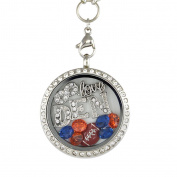 Pro Football 30 mm Floating Charm Locket on 30 inch Necklace