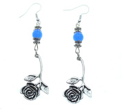 Rose Earrings Dangle 3.8cm from Blue Beads.Perfect & Long Lasting Gift for Mother's Day.Roses She will Treasure!!