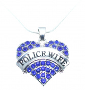 Police Wife Heart Necklace is Embellished with Blue Crystal Rhinestones on 46cm Snake Chain.Beautiful Mother's Day Gift!