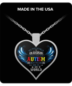 Gift For Mother's Day- My Grandson Is My World - Autism Pendant - Autism Necklace - Birthday Gifts For Women - Autism Awareness