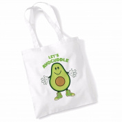 Avocado Tote Bags for Women Vegan Gifts Cotton Shopping Bag Ladies Shoulder Bag Printed Beach Bag Lets Avocuddle Tote Bag