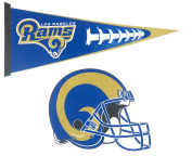 Los Angeles Rams, Wall Decor, One 43cm X 80cm Large Pennant Design, and 30cm X 30cm Helmet Design , Felt material.