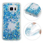 Galaxy S7 Quicksand Case, Galaxy S7 TPU Back Cover, Moon mood® 3D Bling Liquid Glitter Holster Galaxy S7 SM-G9300 13cm Soft TPU Anti-scratch Shell Bumper Transparent Protective Skin Flexible Back Case Cover for Samsung Galaxy S7(Not for Samsung Gal ..