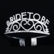 Veewon Bride to Be Tiara Crown Headband Comb Rhinestone Sparkle for Wedding Bridal Shower and Bachelorette Party