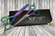 FW® - Professional Hairdressing Barber Hair Cutting Thinning Scissors Set 18cm MULTI- Free Presentation CASE - Finger Rests - Fine Adjustment Tension Screw