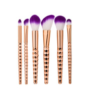 Lospu HY® Makeup Brushes Kits 6pcs Professional Nylon Honeycomb Rose Gold Handle Cosmetic Foundation Eye Face Blush Brush Set Tools