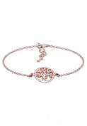 Elli Women Coin Tree of Life Rose Gold Plated 925 Silver Bracelet