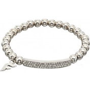 Fiorelli Costume Fashion Pave Silver Beads Stretchy Bracelet
