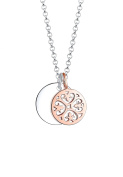Elli Bi Colour Ornament Circle 925 Silver Rose Gold Plated Necklace of Length 45cm