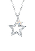 Elli Stars Sparkling Crystals 925 Silver Necklace of Length 45cm