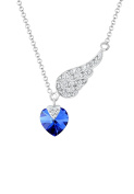 Elli Heart Wings Love Crystals Silver Necklace of Length 45cm 0111361516_45
