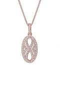 Elli PREMIUM Women Necklace Infinity Crystals Silver Rose Gold Plated Necklace of Length 45cm