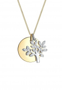 Elli PREMIUM Women Necklace 925 Silver Bi-Colour Tree of Life Crystals Necklace of Length 45cm