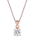 Elli Women Rose Gold-Plated 925 Silver Infinity Solitaire Crystal Necklace of Length 45cm