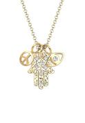 Elli Women 925 Silver Gold-Plated Talisman Crystal Hamsa Necklace of Length 45cm
