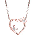 Elli Women Heart Star Sparkle Crystals 925 Silver Rose Gold Plated Necklace of Length 45cm