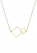 Elli Women Square Geo Minimal Gold-Plated 925 sterling Silver Necklace of Length 45cm