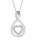 Elli Women Infinity Heart Crystals 925 Silver Necklace of Length 45cm