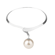 Front Row Silver Colour and Glass Pearl Necklace of Length 47cm