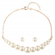 Front Row Gold Colour Glass Pearl Necklace and Earring Set