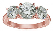 La Lumiere Rose Gold-Plated Sterling Silver Zirconia 1 cttw Princess 3 Stone Ring S