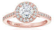 La Lumiere Rose Gold-Platinum Plated Sterling Silver Zirconia 1.5 ct Round Centre Halo Ring size S